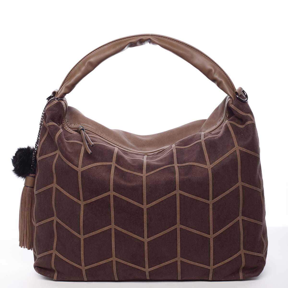 Trendy dámská velká vzorovaná kabelka kávová - MARIA C Chana