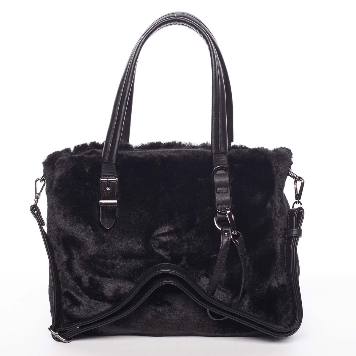 Exkluzivní kožešinová kabelka do ruky černá - MARIA C Zoey