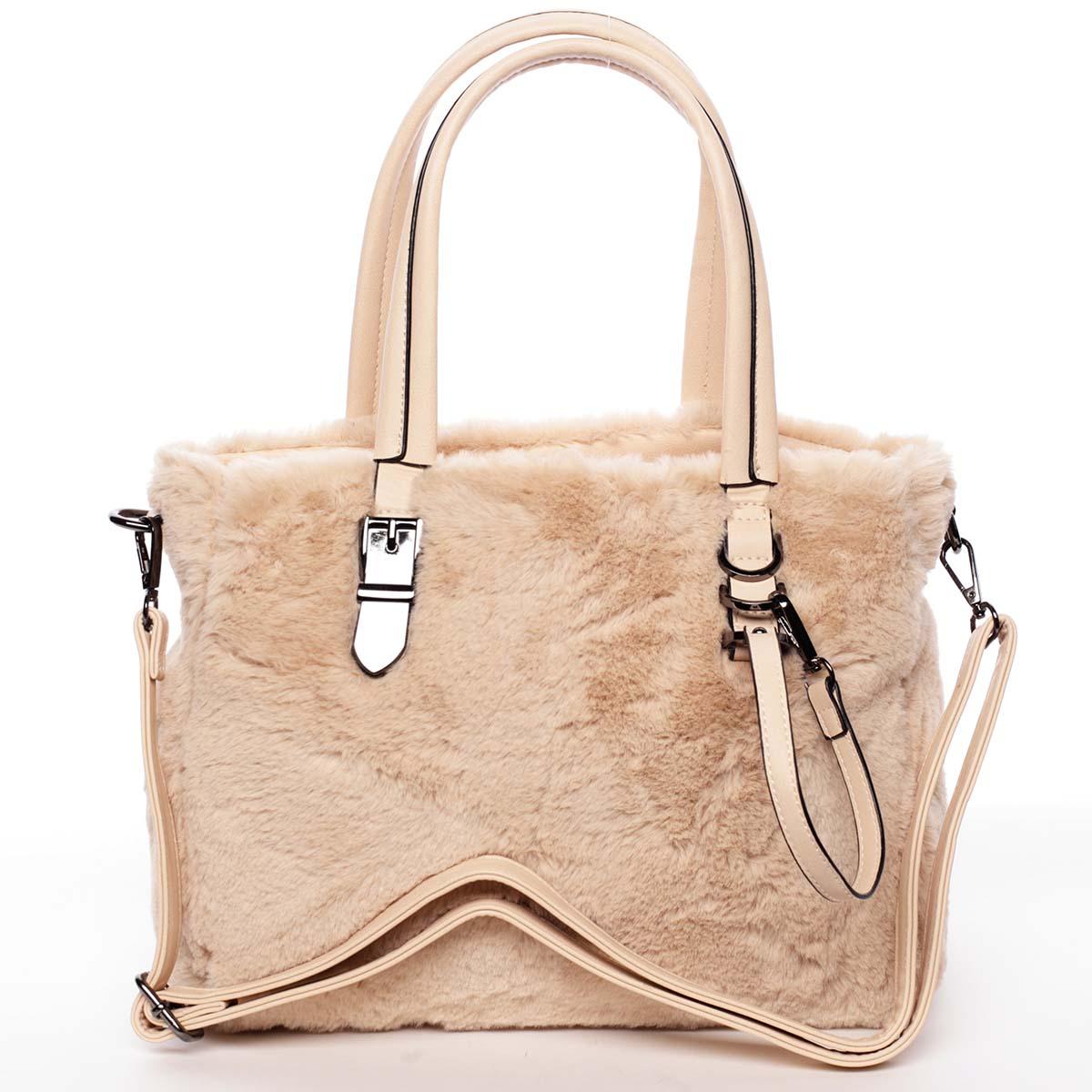 Exkluzivní kožešinová kabelka do ruky meruňková - MARIA C Zoey