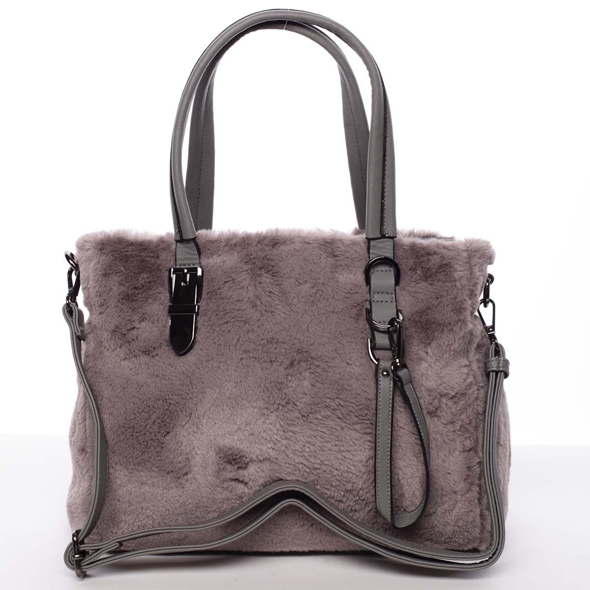 Exkluzivní kožešinová kabelka do ruky šedá - MARIA C Zoey