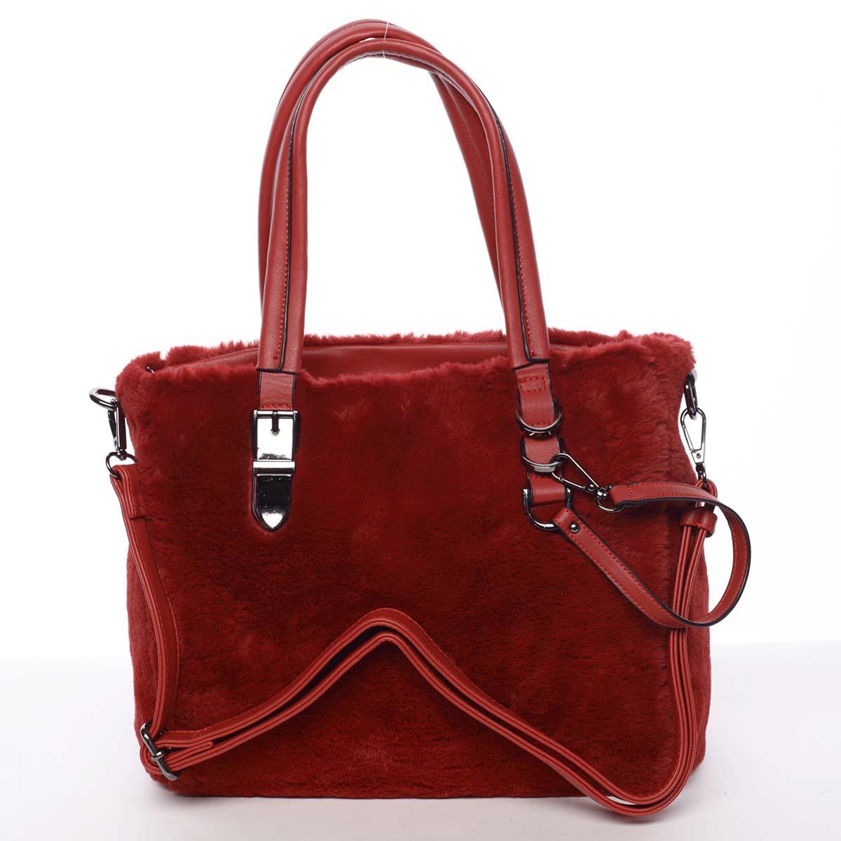 Exkluzivní kožešinová kabelka do ruky červená - MARIA C Zoey