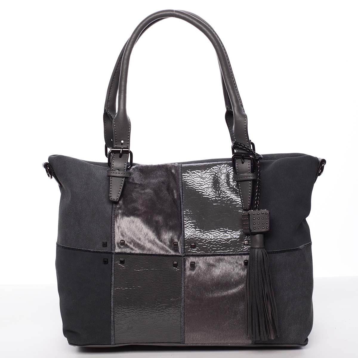 Jedinečná větší dámská kabelka šedá - MARIA C Riley