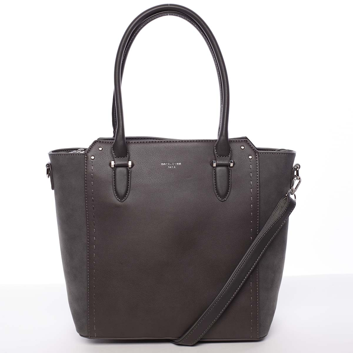 Větší dámská tmavě šedá kabelka přes rameno - David Jones Pelagiana