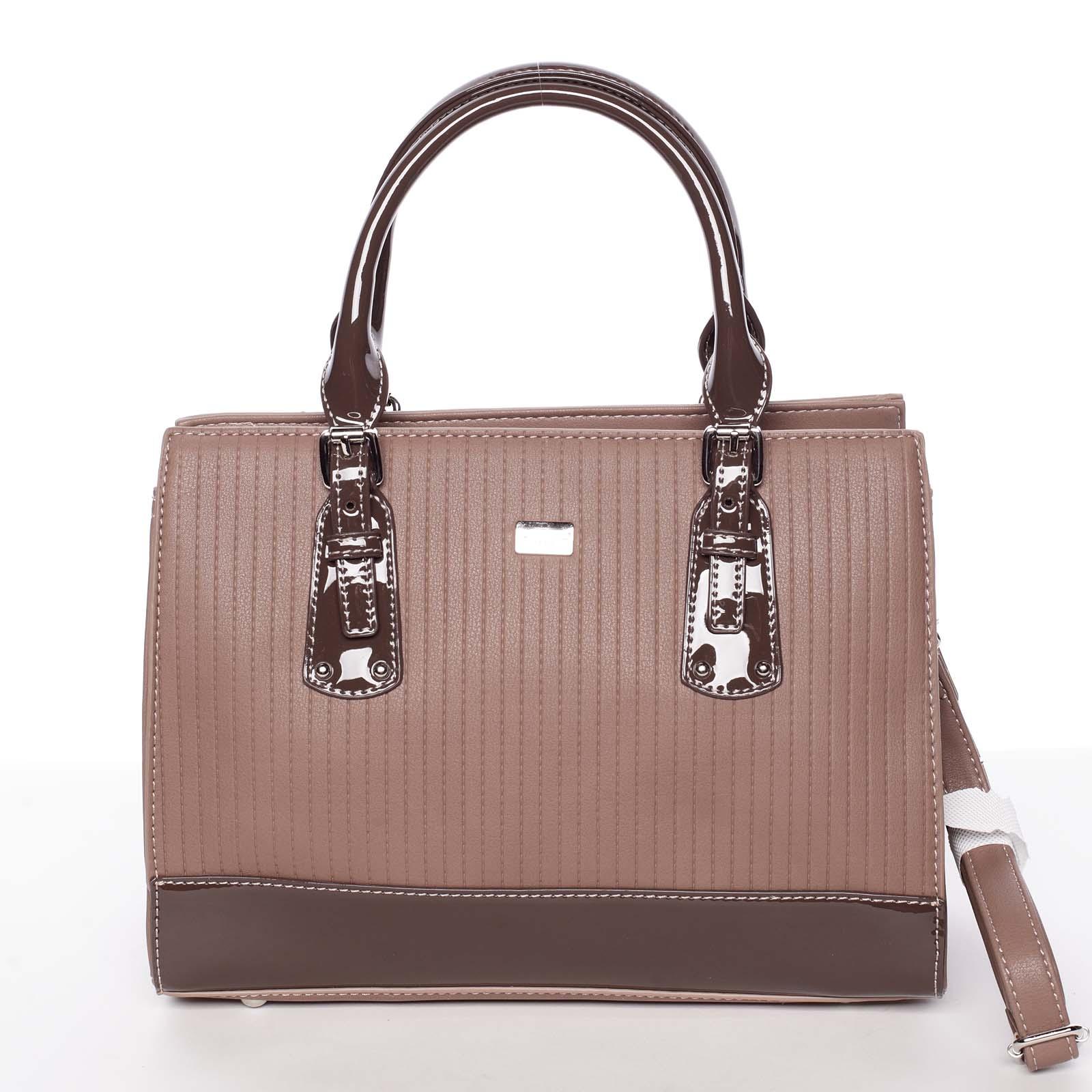 Luxusní tmavá starorůžová dámská prošívaná kabelka do ruky - David Jones Pannai