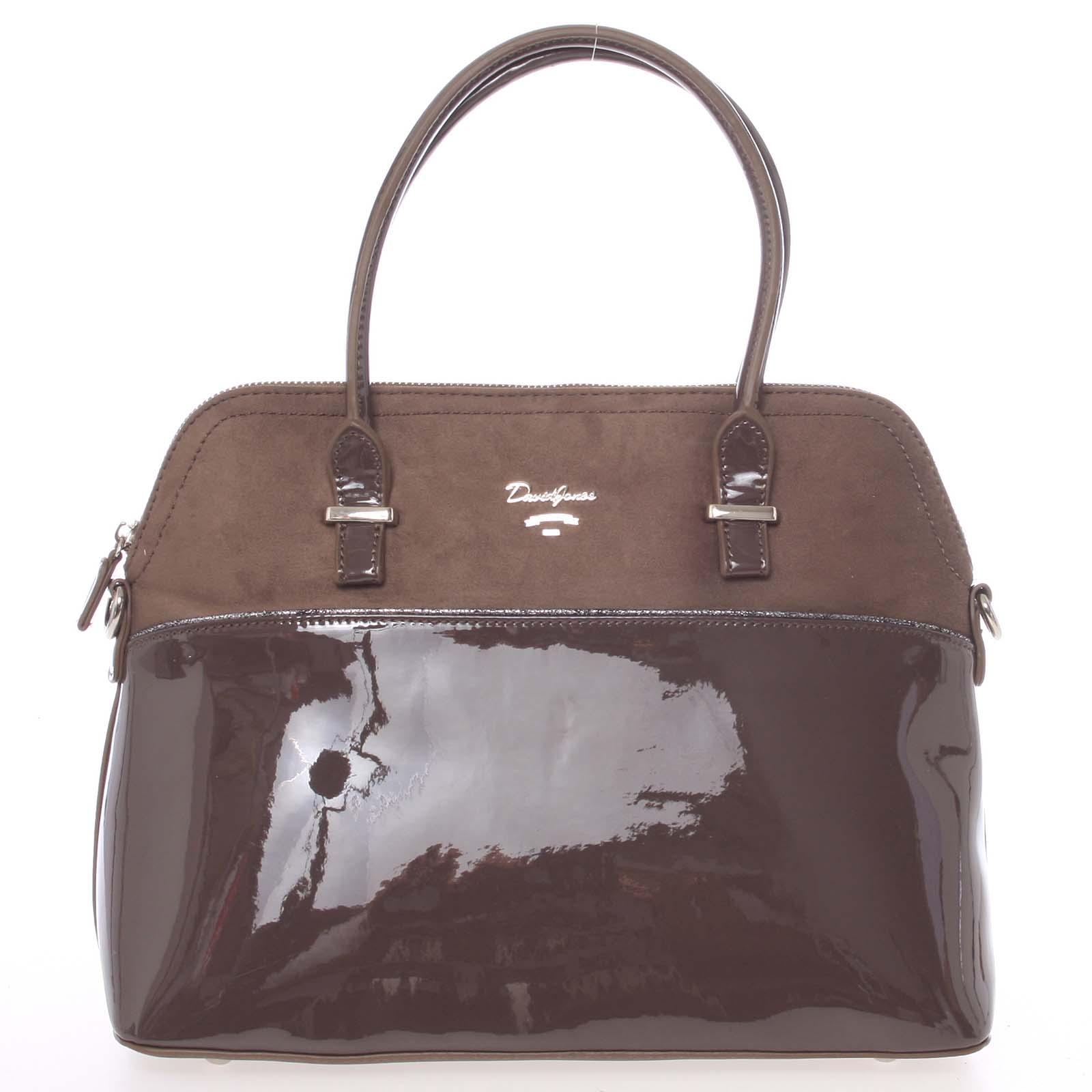 Dámská kabelka do ruky pololakovaná tmavě hnědá - David Jones Pisella