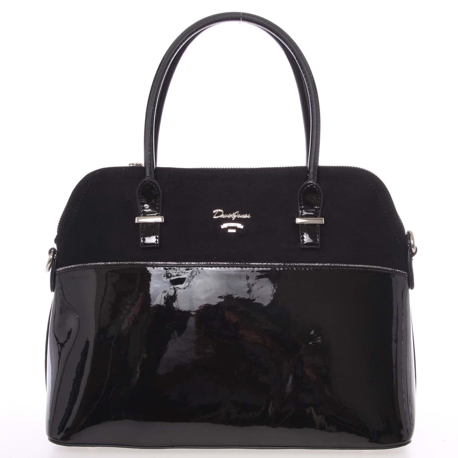 Dámská kabelka do ruky pololakovaná černá - David Jones Pisella