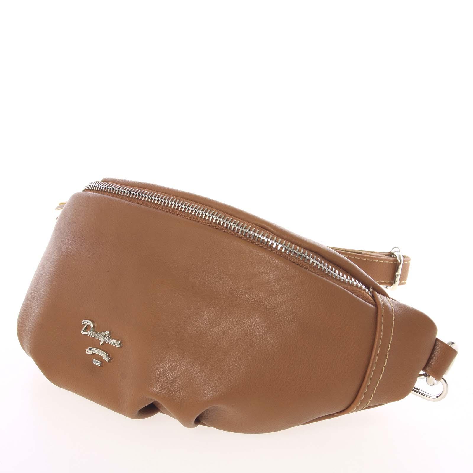 Vkusná tmavší koňaková ledvinková kabelka pro ženy - David Jones Kidney