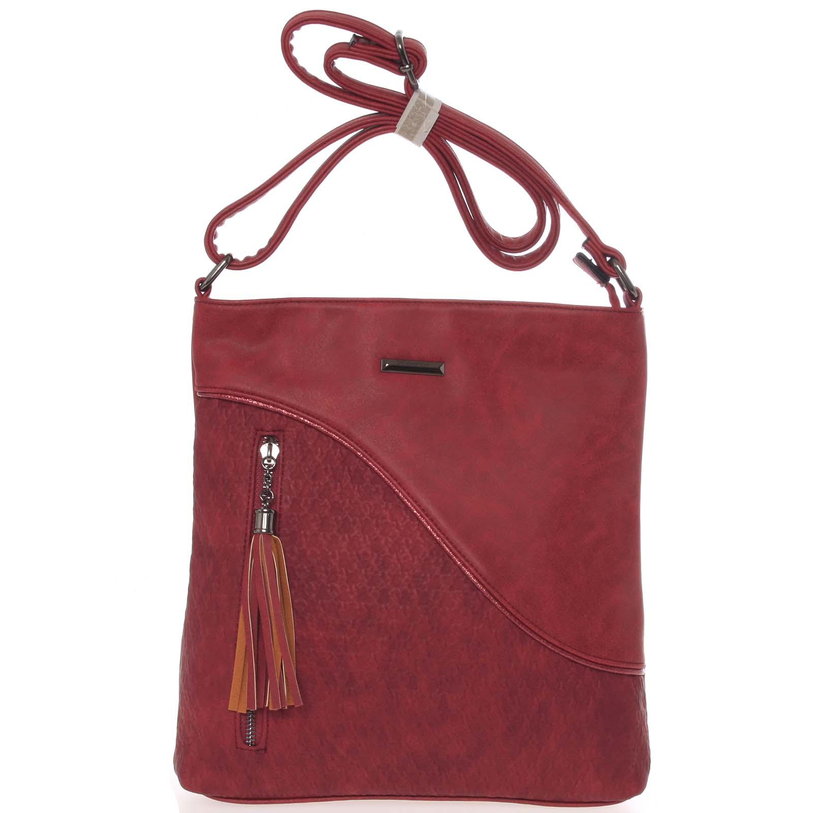 Stylová a módní vínově červená crossbody kabelka - Silvia Rosa Soffi