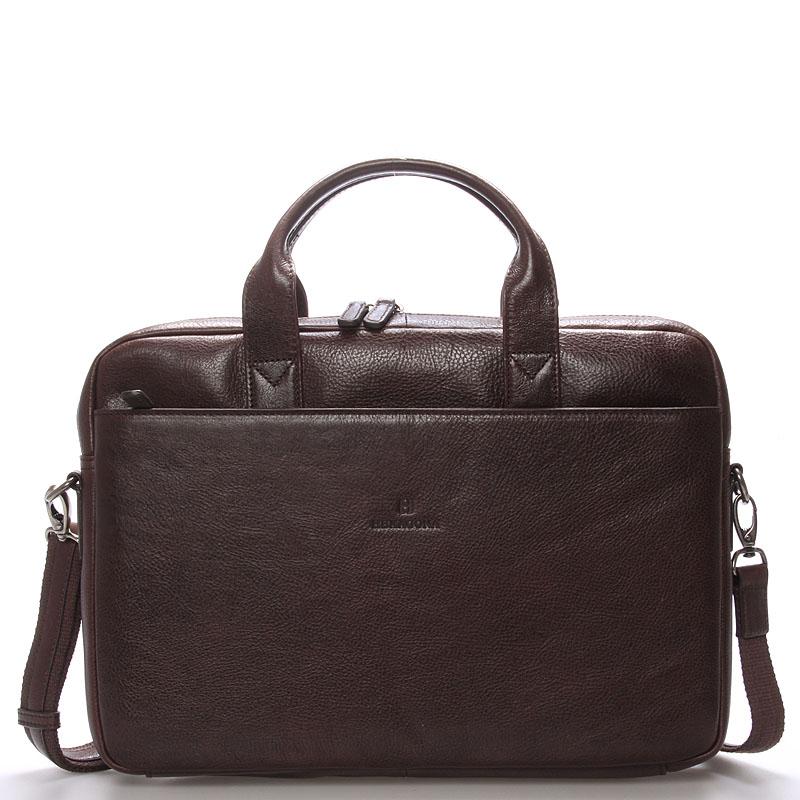 Kožená business taška tmavě hnědá - Hexagona 29478