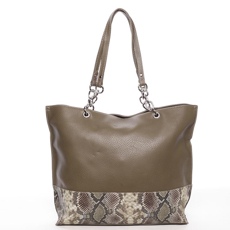 Velká prostorná dámská kabelka khaki - David Jones Ajoga