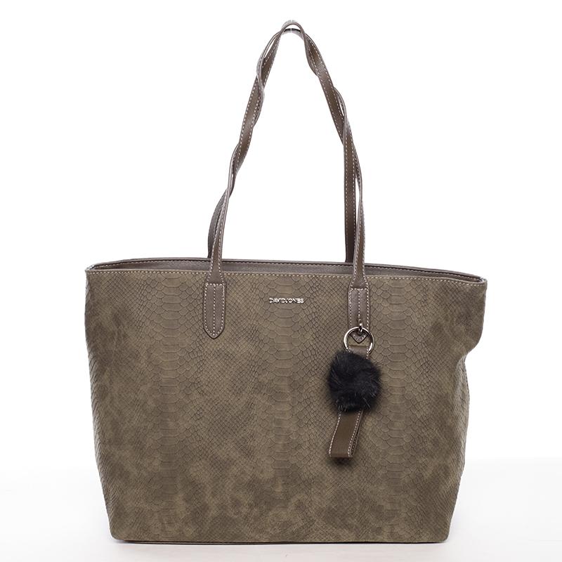 Originální velká dámská kabelka přes rameno khaki - David Jones Ilona