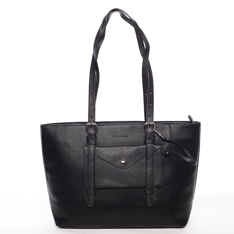 Módní velká dámská kabelka přes rameno černá  - David Jones Arana