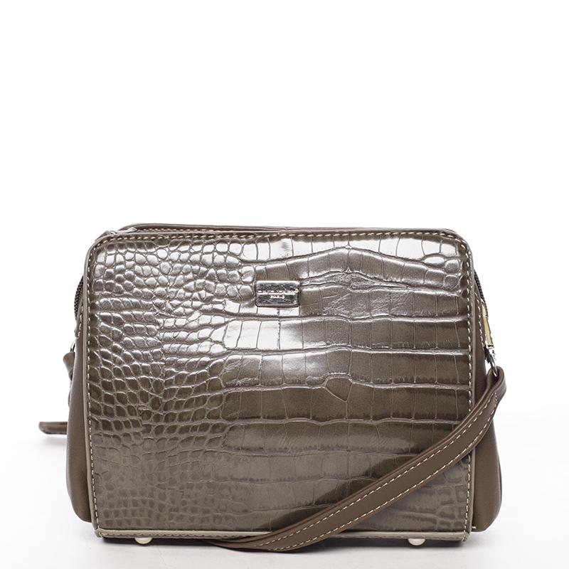 Dámská crossbody kabelka khaki s hadím vzorem - David Jones Snake