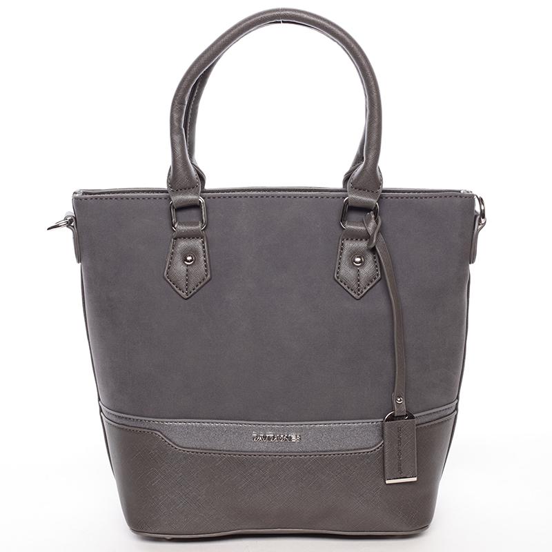 Trendy dámská kabelka do ruky tmavě šedá - David Jones Teherra