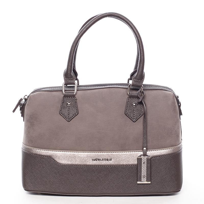 Trendy dámská kabelka do ruky tmavě hnědá saffiano - David Jones Terray