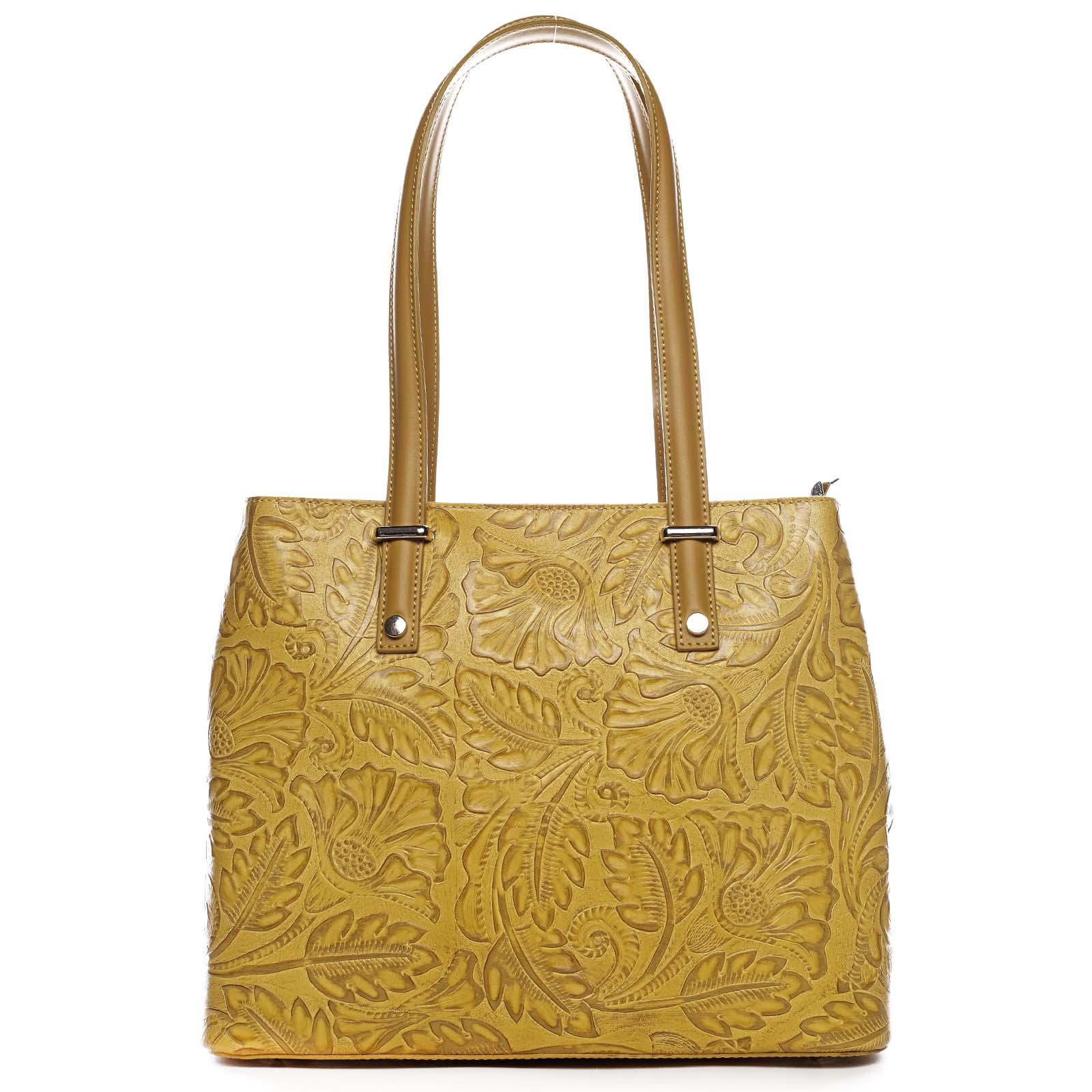 Exkluzivní dámská kožená kabelka žlutá - ItalY Logistilla