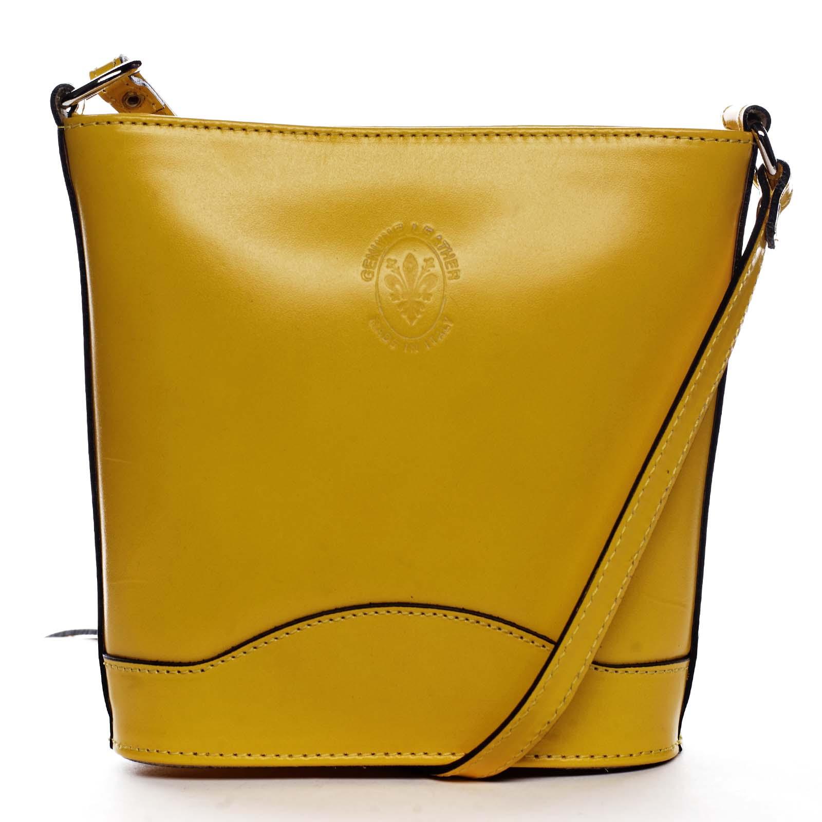 Žlutá kožená crossbody kabelka - ItalY Bryana Dark
