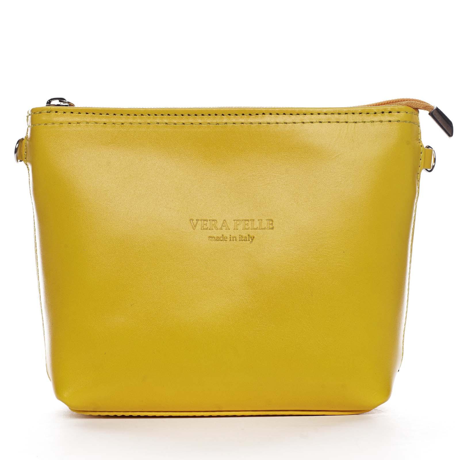 Dámská kožená crossbody kabelka žlutá - ItalY Garnet