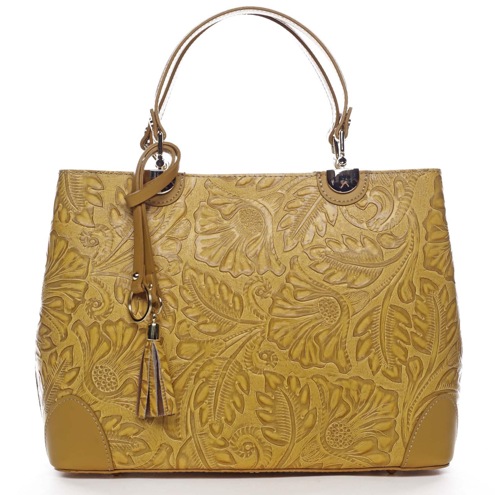 Originální dámská kožená kabelka tmavě žlutá - ItalY Mattie