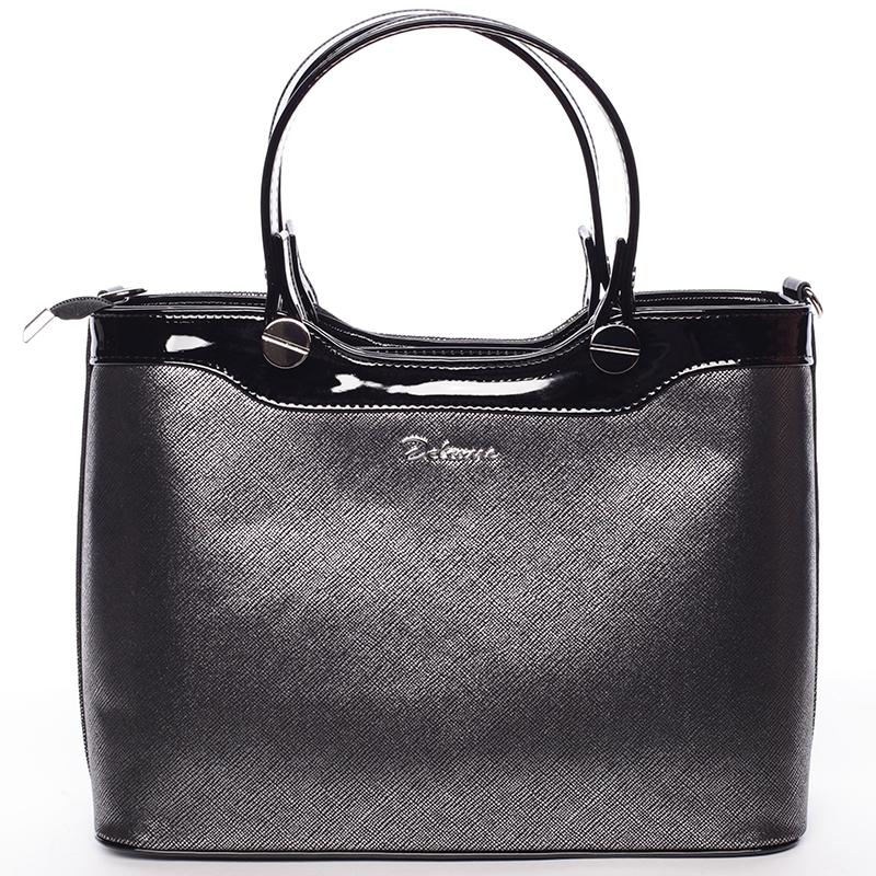 Elegantní lakovaná černá stříbrná dámská kabelka do ruky - Delami Iriana