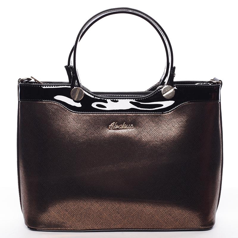 Elegantní lakovaná černo zlatá dámská kabelka do ruky - Delami Iriana