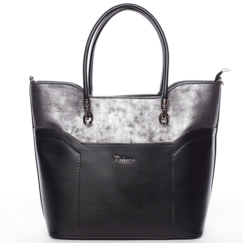 Dámská luxusní kabelka přes rameno černo grafitová - Delami Amalia