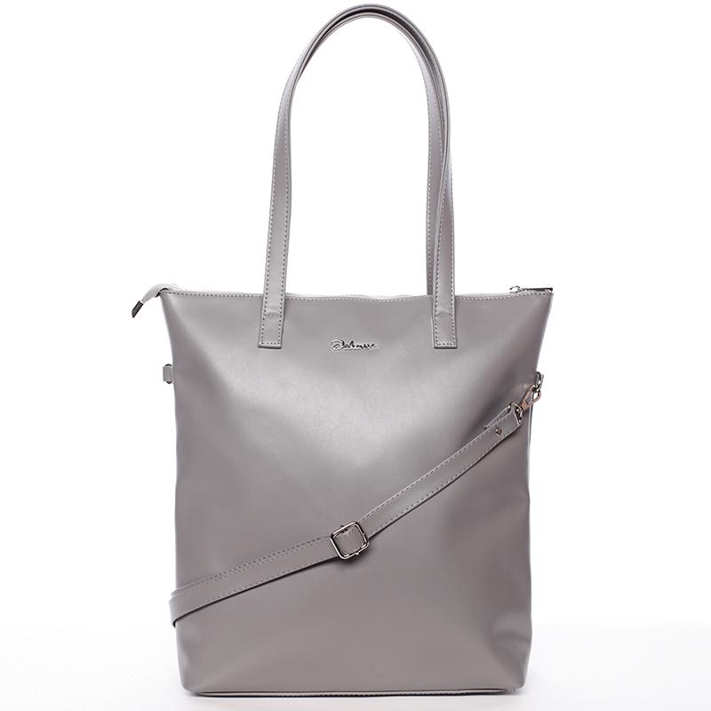 Vysoká dámská elegantní kabelka přes rameno šedá - Delami Ilithya