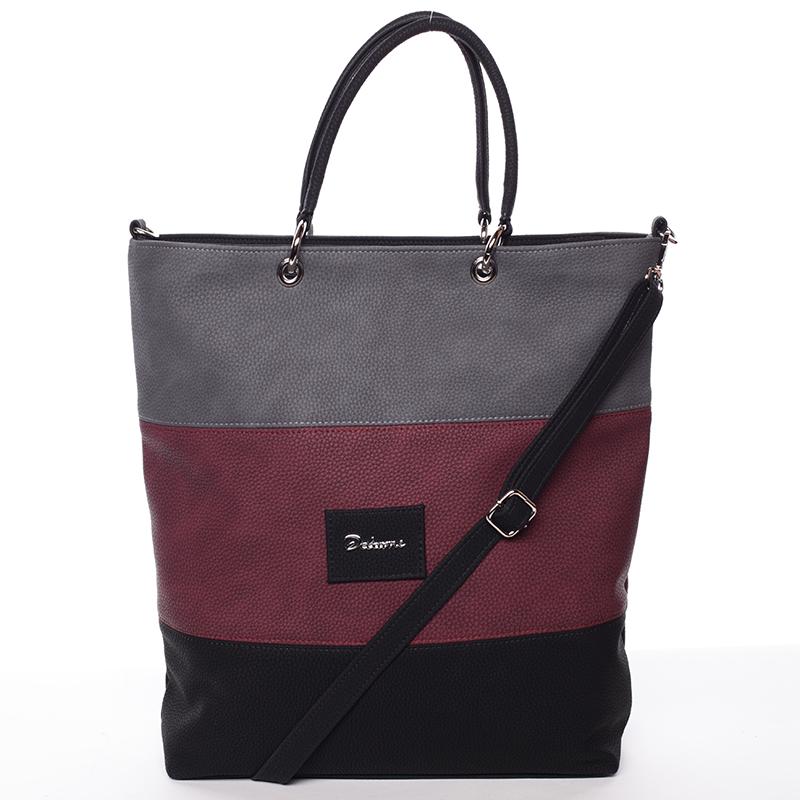 Dámská elegantní kabelka šedo vínovo černá - Delami Patricia