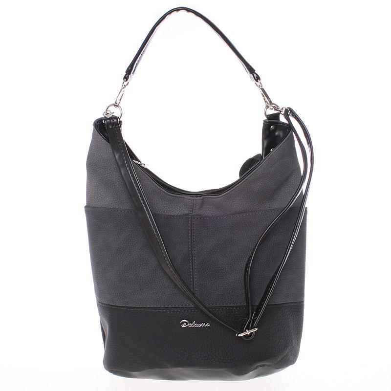 Elegantní šedo černá dámská kabelka přes rameno - Delami Shakira