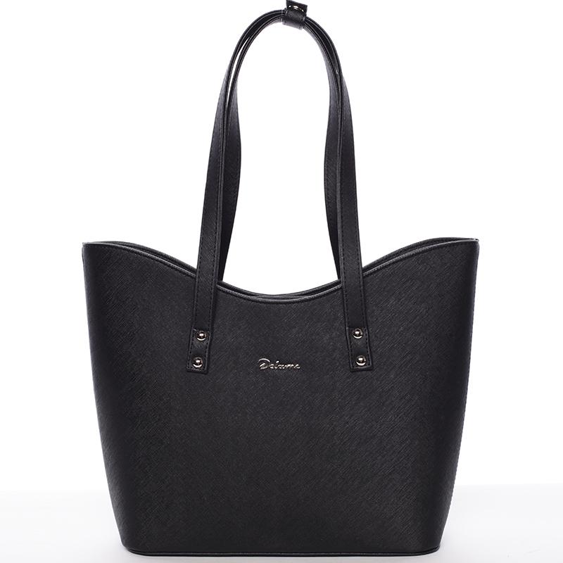 Dámská luxusní kabelka přes rameno černá saffiano - Delami Alexia