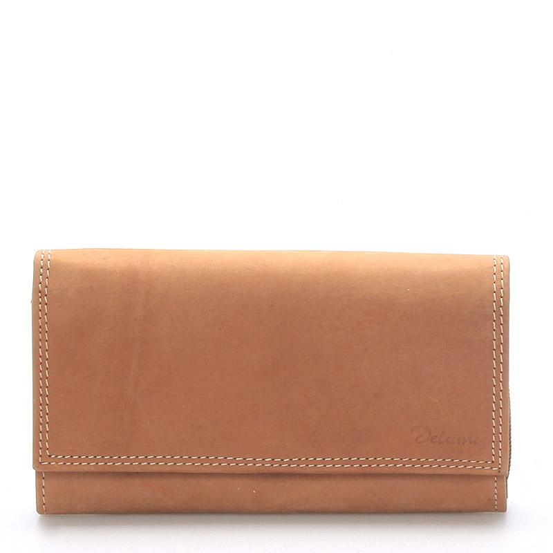 Dámská kožená peněženka světle hnědá - Delami Guara