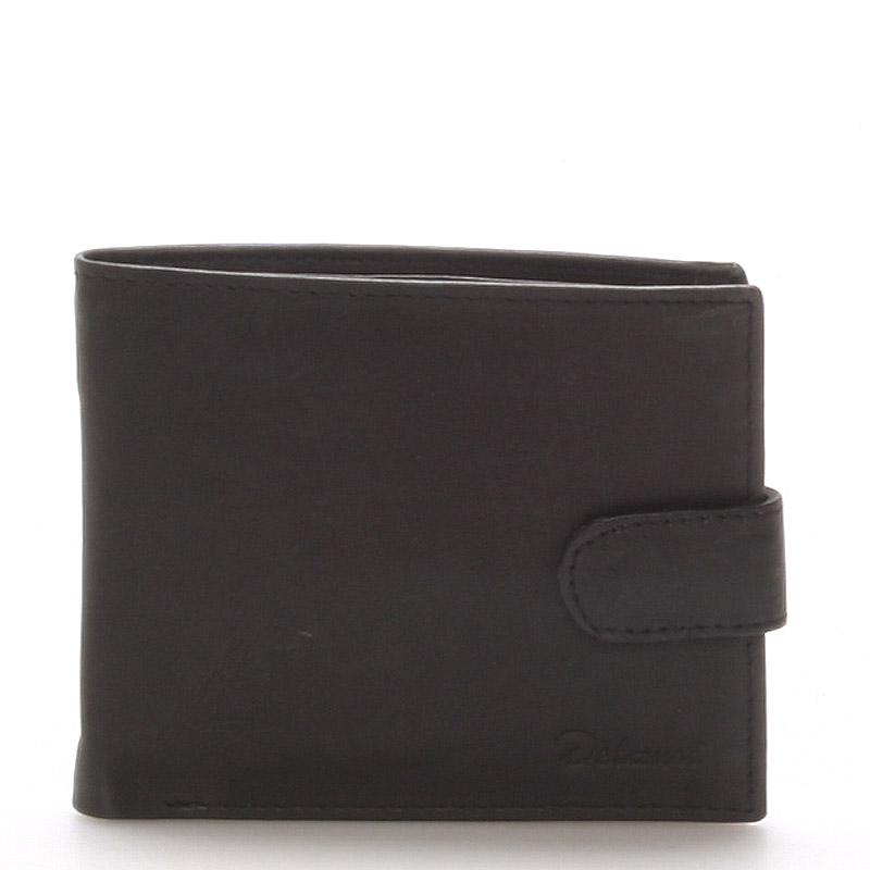 Pánská kožená černá peněženka - Delami 9371