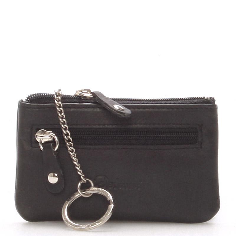 Malá kožená klíčenka černá - Delami 9946