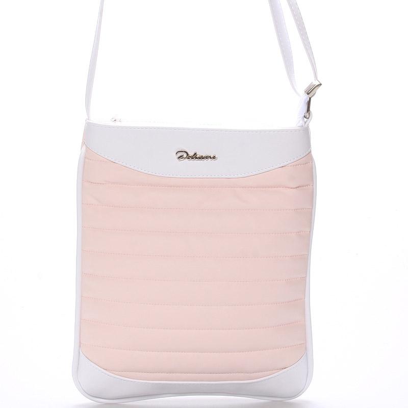 Menší crossbody kabelka růžovo bílá - Delami Jineen