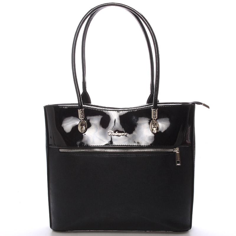 Dámská luxusní černá lakovaná kabelka - Delami Belén