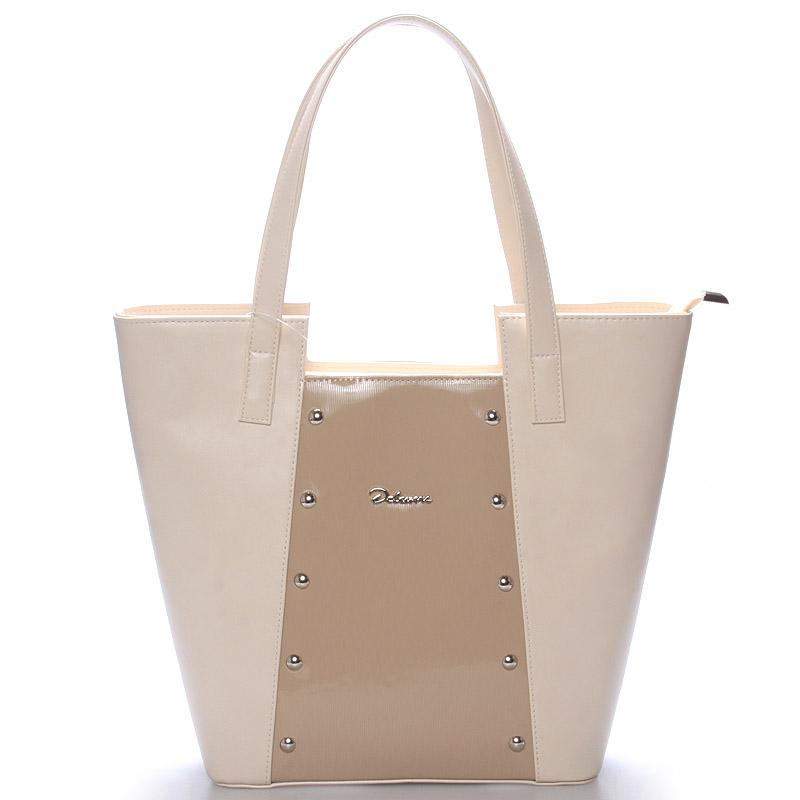 Dámská kabelka přes rameno béžová s cvočky - Delami Annie