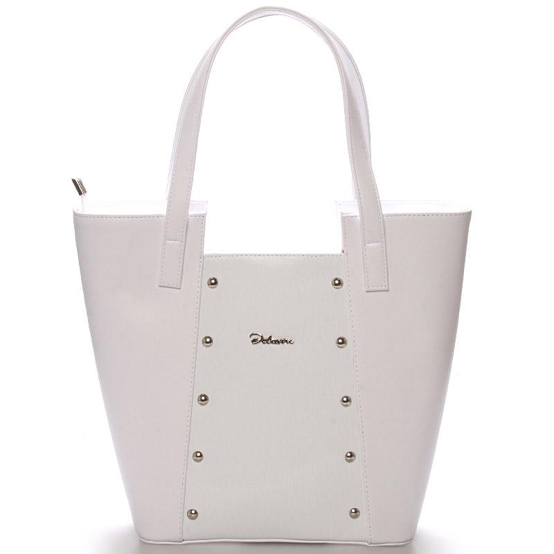 Dámská kabelka přes rameno bílá s cvočky - Delami Annie