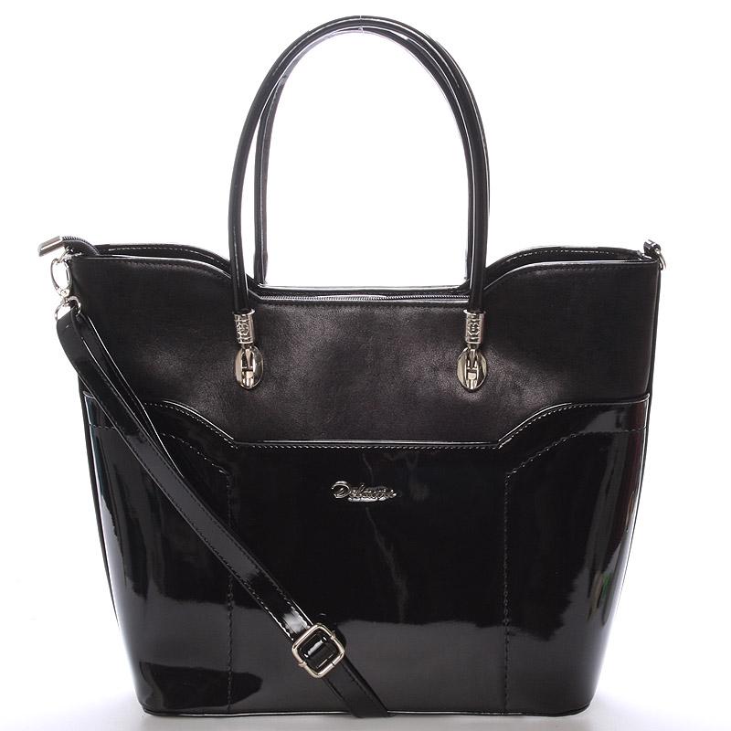 Dámská pololakovaná kabelka přes rameno černá - Delami Amalia