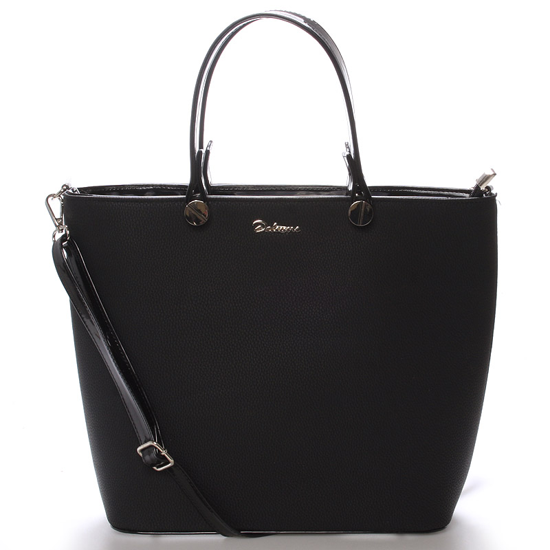 Luxusní dámská kabelka černá struktura - Delami Chantal