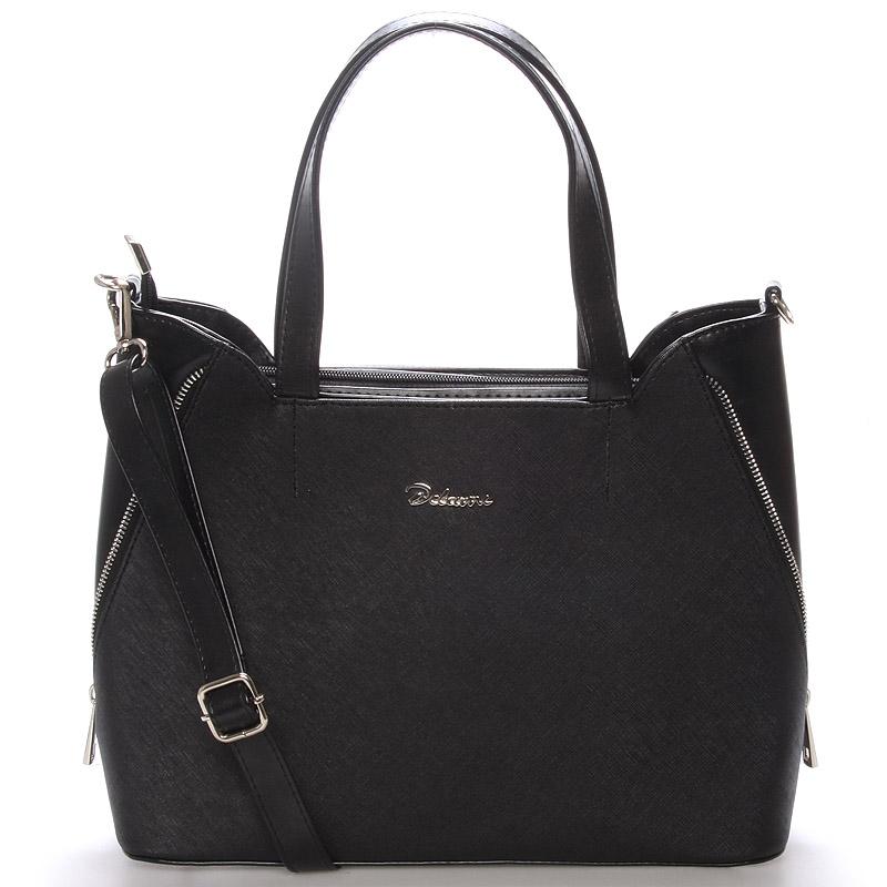 Elegantní dámská kabelka do ruky černá saffiano - Delami Diahann