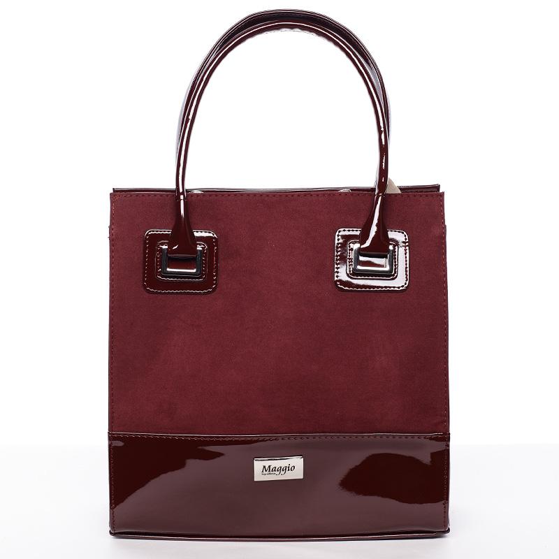 Dámská luxusní lakovaná kabelka vínová - Maggio Claudine