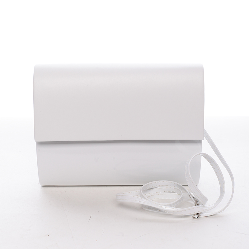 Střední dámské elegantní psaníčko bílé lesklé - Delami SanDiego