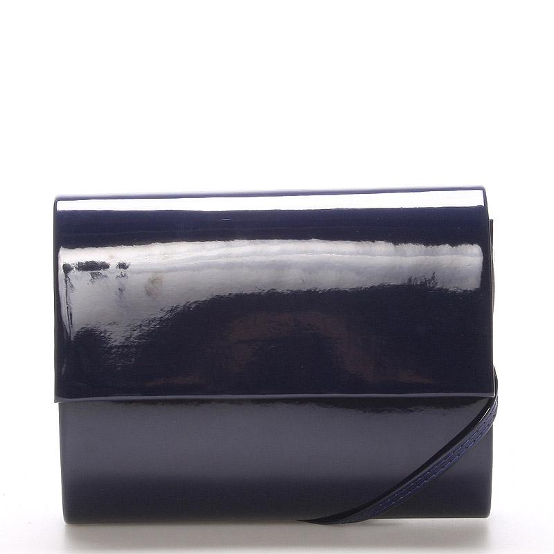 Střední dámské elegantní psaníčko tmavě modré lesklé - Delami SanDiego
