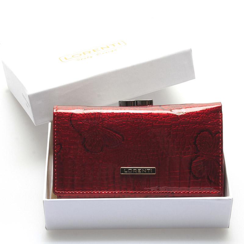 Dámská módní kožená lakovaná peněženka červená - Lorenti Bibiana