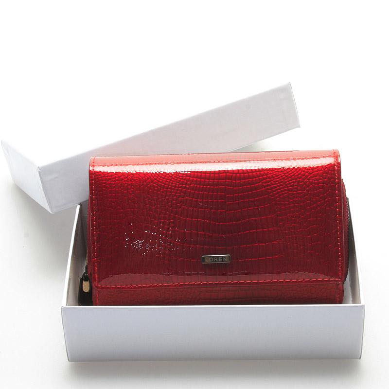 Dámská módní kožená lakovaná peněženka červená - LOREN Ianthe