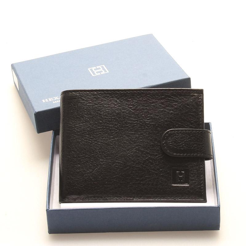 Luxusní pánská černá kožená peněženka - Hexagona Hestia