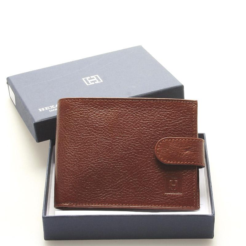 Luxusní pánská hnědá kožená peněženka - Hexagona Hestia