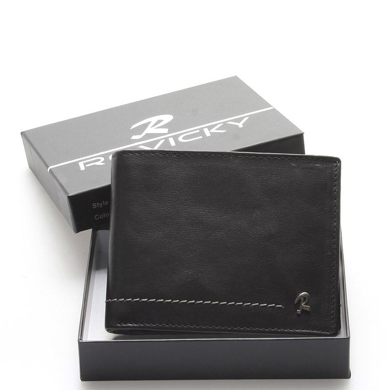 Pánská kožená volná peněženka černá - Rovicky Hesper