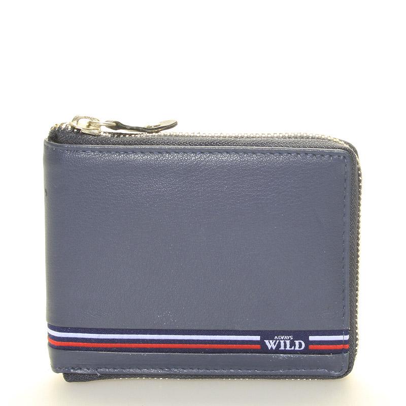 Sportovní modrá kožená peněženka se zipem - WILD Herodes