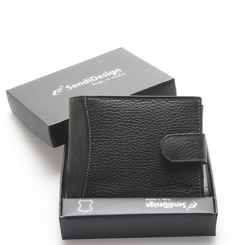 Pánská černá kožená peněženka - Sendi Design Hunter